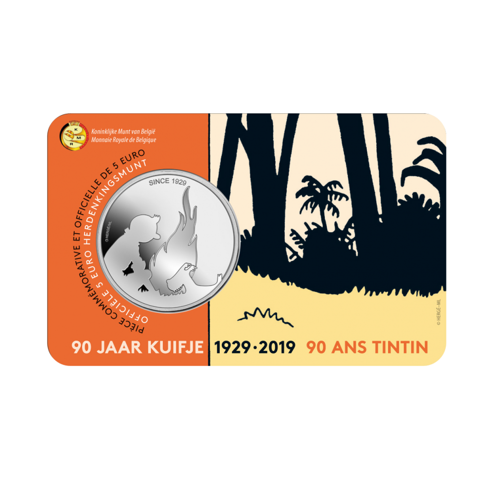 5 Euromunt België 2019 90 Jaar Kuifje In Reliëf Bu In Coincard