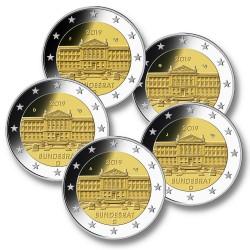 Duitsland 2 euro's 2019 'Bundesrat' - 5 letters: A, D, F, G en J