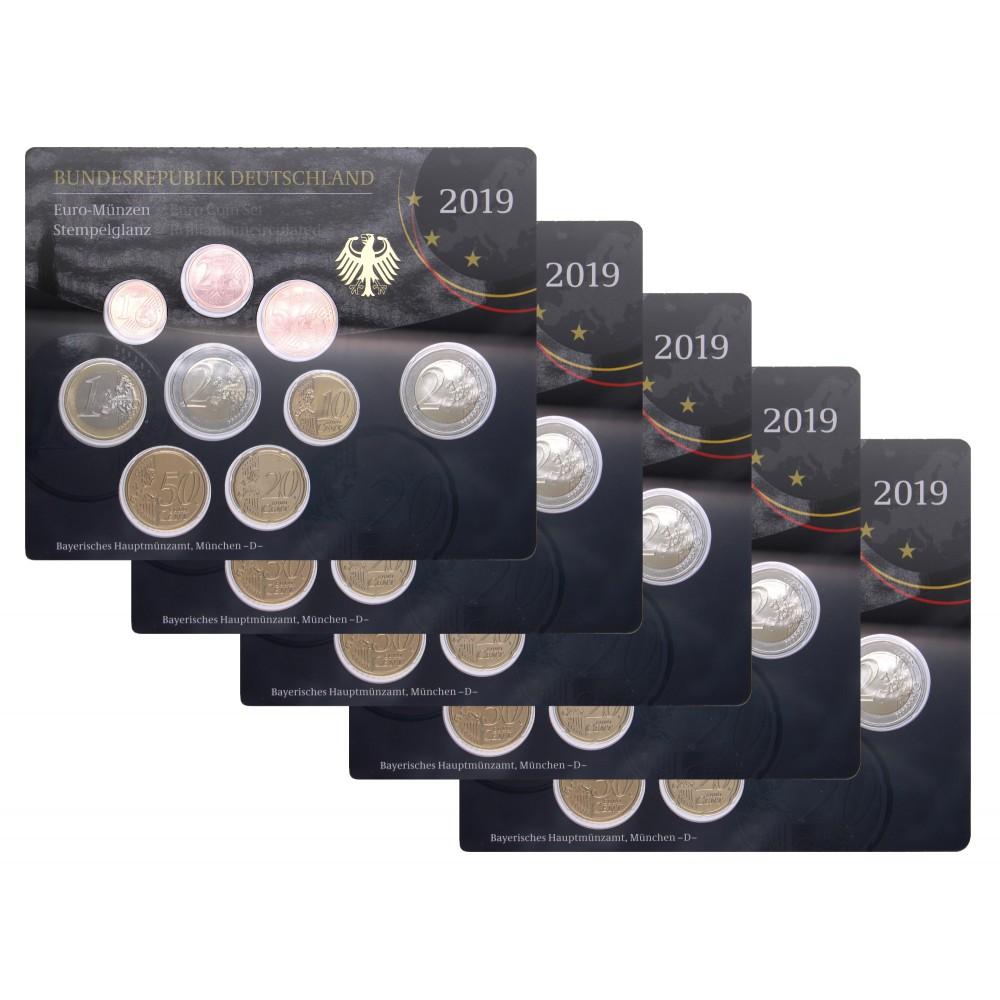 Duitsland 5x BU sets 2019 - Met 2 euro 'Bundesrat', letters A,D,F,G,J