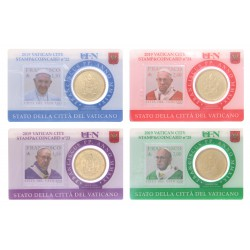 Vaticaan set van 4 coincards 2019 'Postzegel en munt' nr. 22 t/m 25