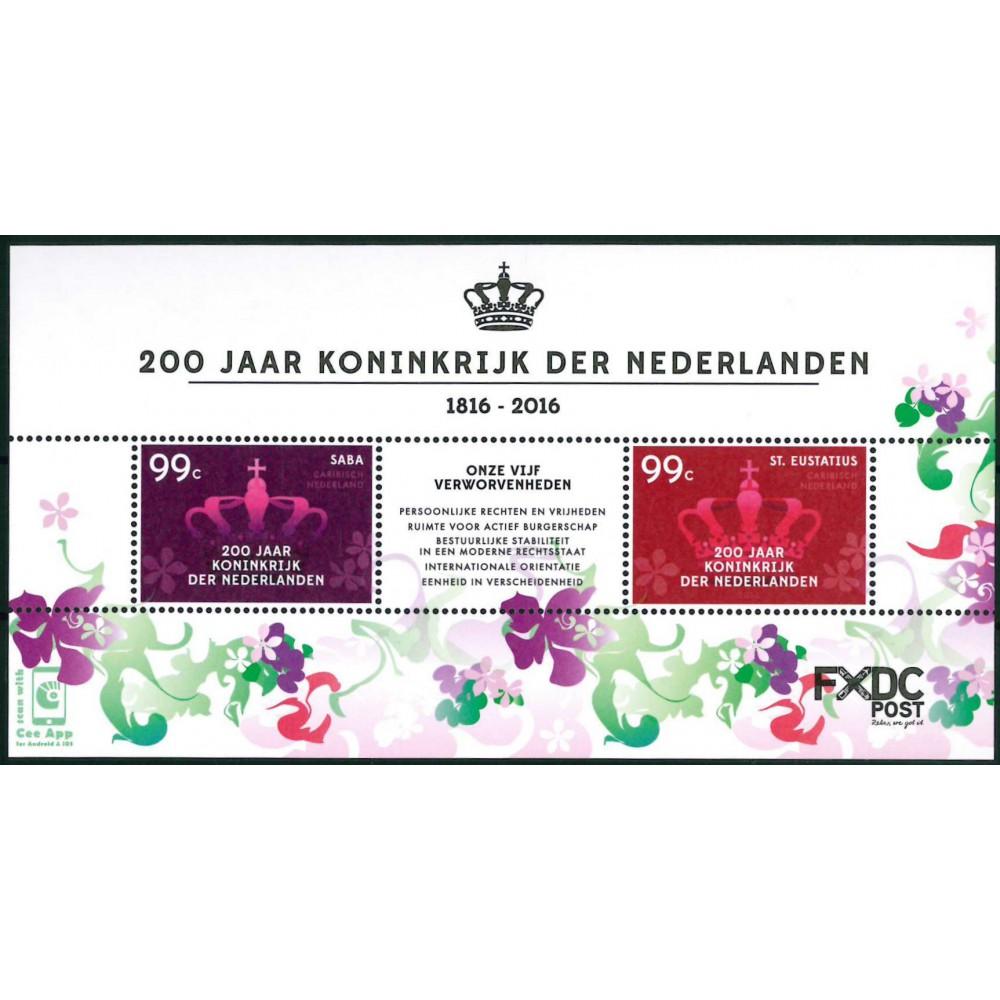 2016 Caribisch Nederland 3 blokken | Saba 200 jaar koninkrijk de Nederlanden