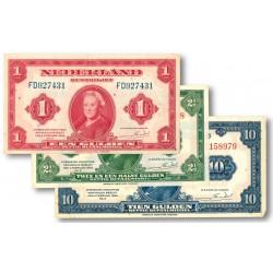 Nederland 1, 2.5 en 10 gulden biljetten 1943