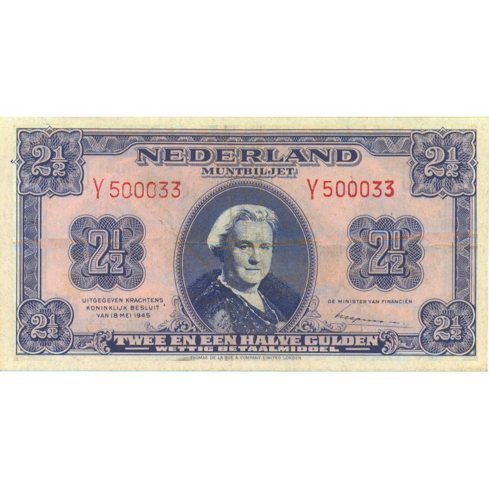 Nederland 2½ Gulden 1945 II 'Wilhelmina'