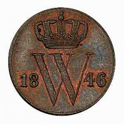 Koninkrijksmunten Nederland ½ cent 1846