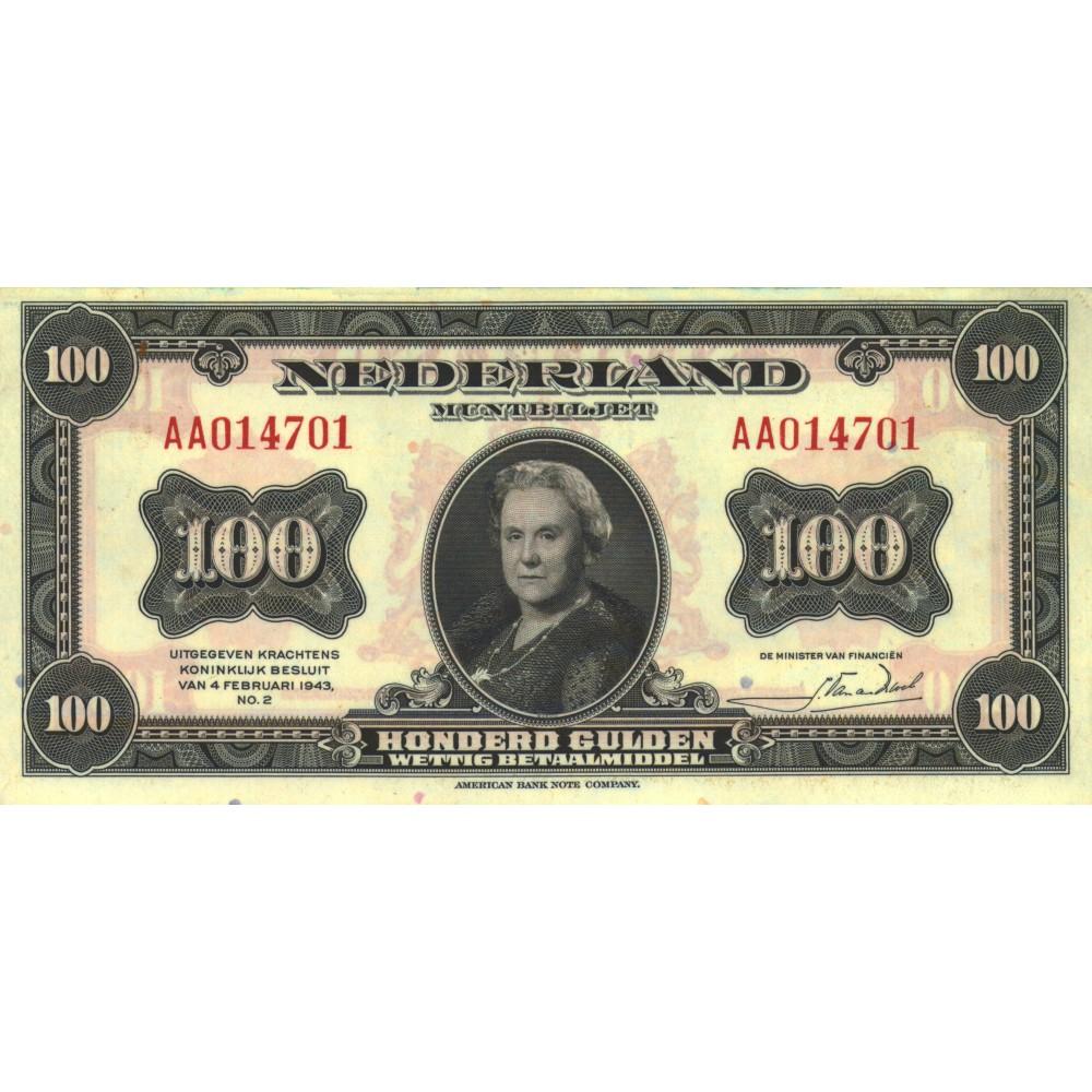Nederland 100 Gulden 1943 'Wilhelmina'