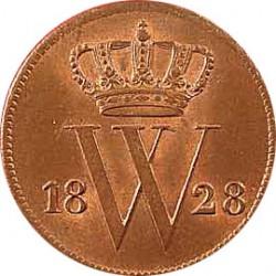 Koninkrijksmunten Nederland 1 cent 1828 B