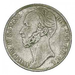 Koninkrijksmunten Nederland 1 gulden 1845 streepje