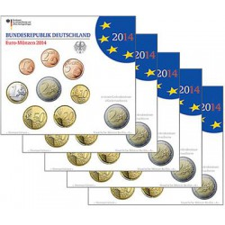 Duitsland 5x BU sets 2014 - Met 2 euro 'Niedersachsen'