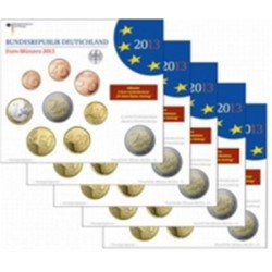 Duitsland BU-Set 2013 - Met 2 euro 'Baden-Württemberg' en 2 euro 'Elysée-verdrag' 2013. 5 Sets met letters A,D,F.G,J.
