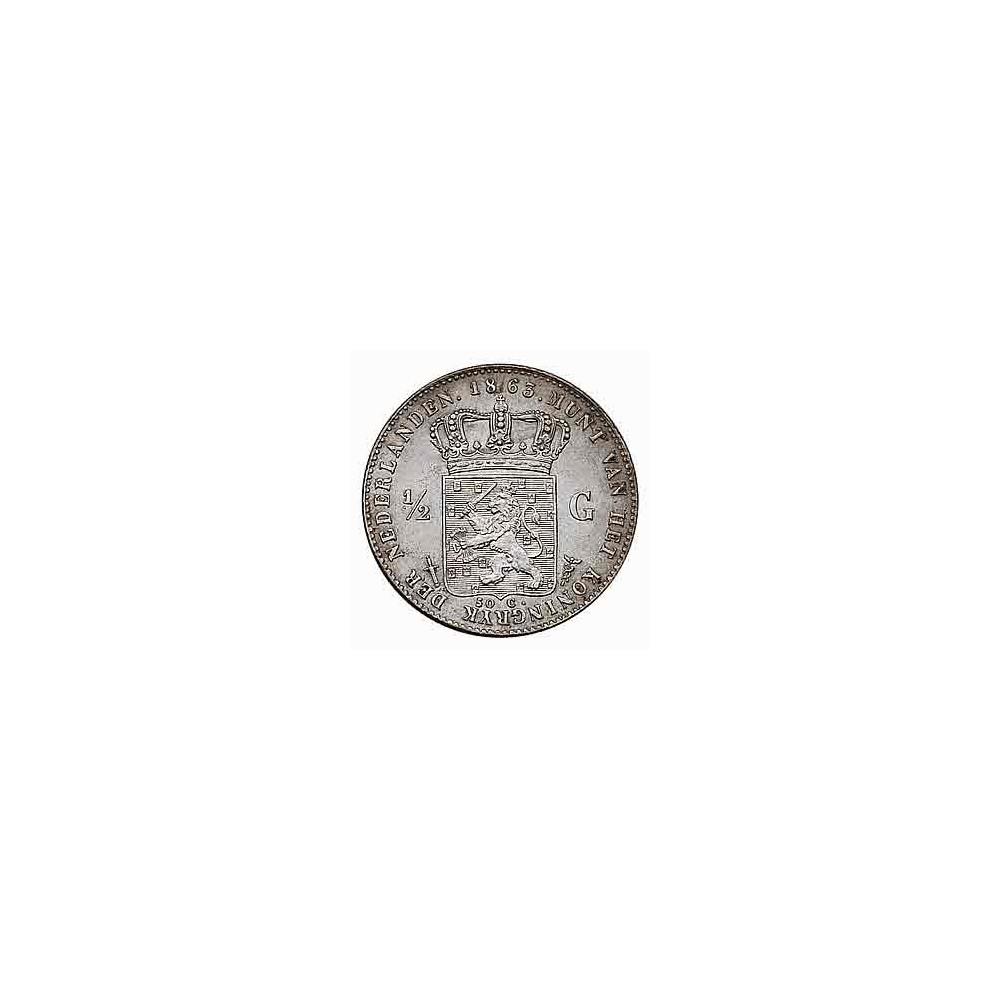 Koninkrijksmunten Nederland ½ gulden 1863