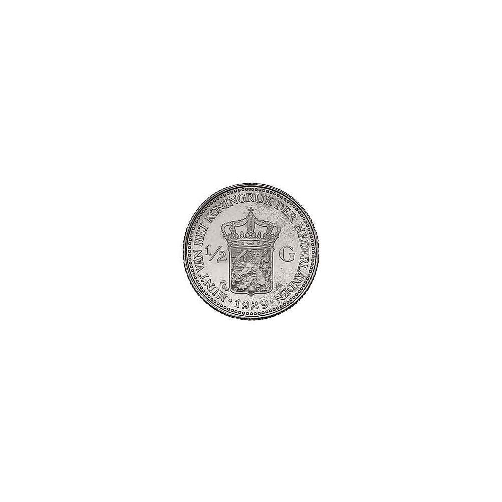 Koninkrijksmunten Nederland ½ gulden 1929 Pareltje onder de G