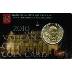Vaticaan 50 cent 2010 in coincard nr. 1