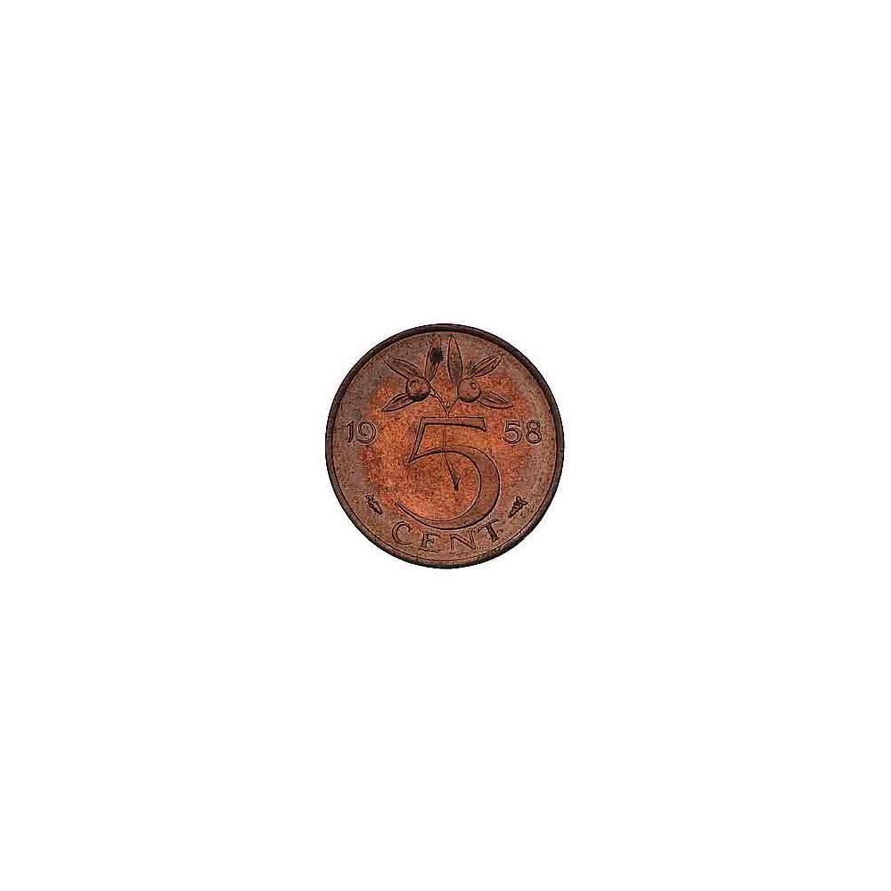 Koninkrijksmunten Nederland 5 cent 1958