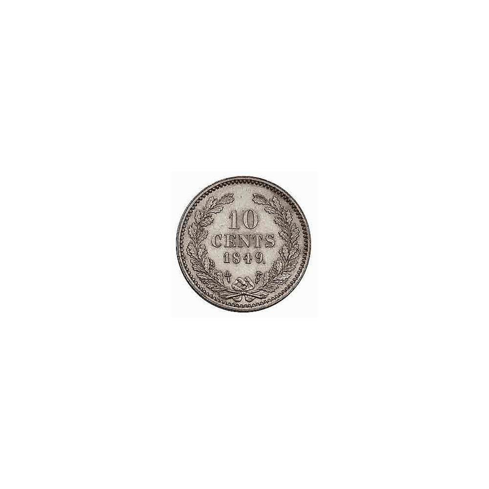 Koninkrijksmunten Nederland 10 cent 1849 punt