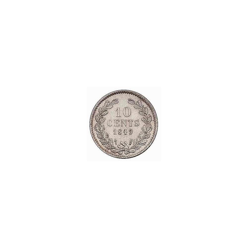 Koninkrijksmunten Nederland 10 cent 1849 zonder punt