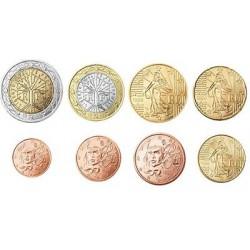 Frankrijk serie euromunten op jaartal