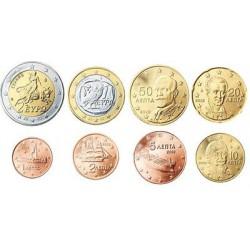 Griekenland serie euromunten op jaartal