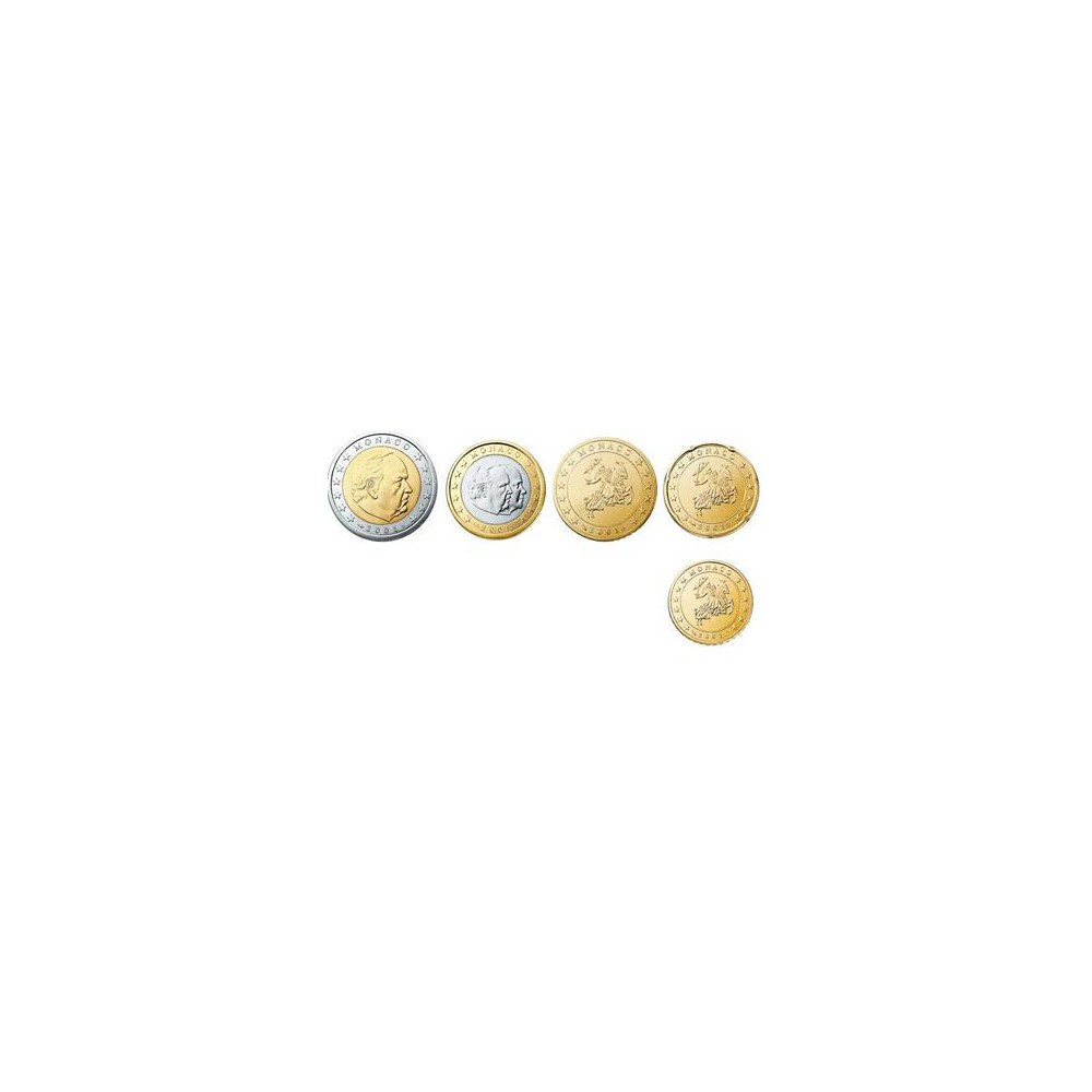 Monaco serie euromunten op jaartal