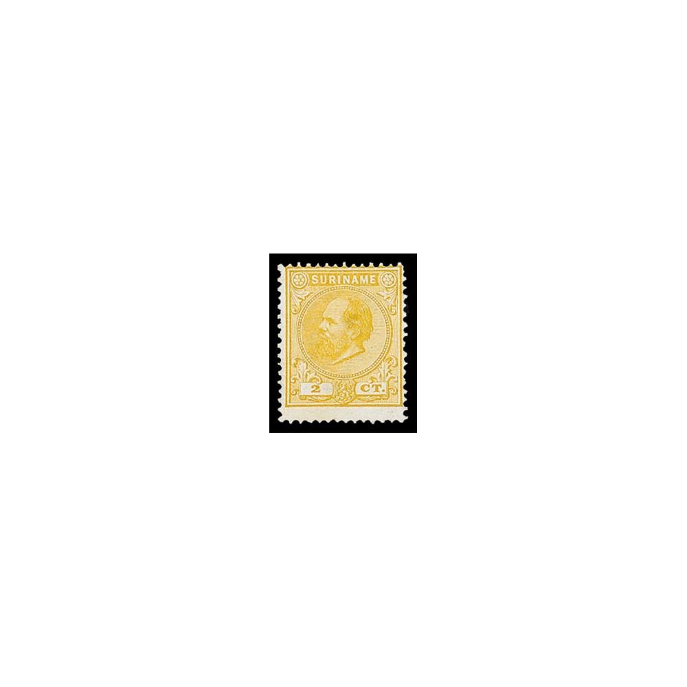 1873-1889 Suriname Koning Willem III. 2 ct, geel