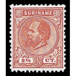 1873-1889 Suriname Koning Willem III. 2½ ct, karmijn