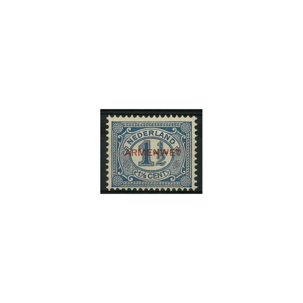 1913 Nederland Dienstzegel | Opdruk ARMENWET in zwart op frankeerzegels uitgiften 1899-1913 en 1899-1921