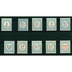 1881-1887 Nederland Portzegels | Cijfer en waarde zwart, voor de 1 gld rood