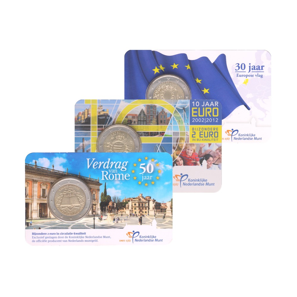 Bundel: Verdrag van Rome, 30 jaar EU vlag, 10 jaar Euro