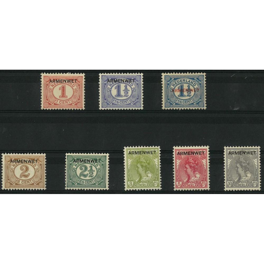 1913 Nederland Dienstzegels   Opdruk ARMENWET in zwart op frankeeerzegels uitgiften 1899-1913 en 1899-1921