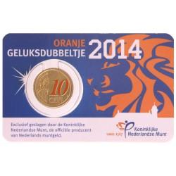 Nederland 10 cent 2014 'Geluksdubbeltje' - speciale uitgifte in kleur