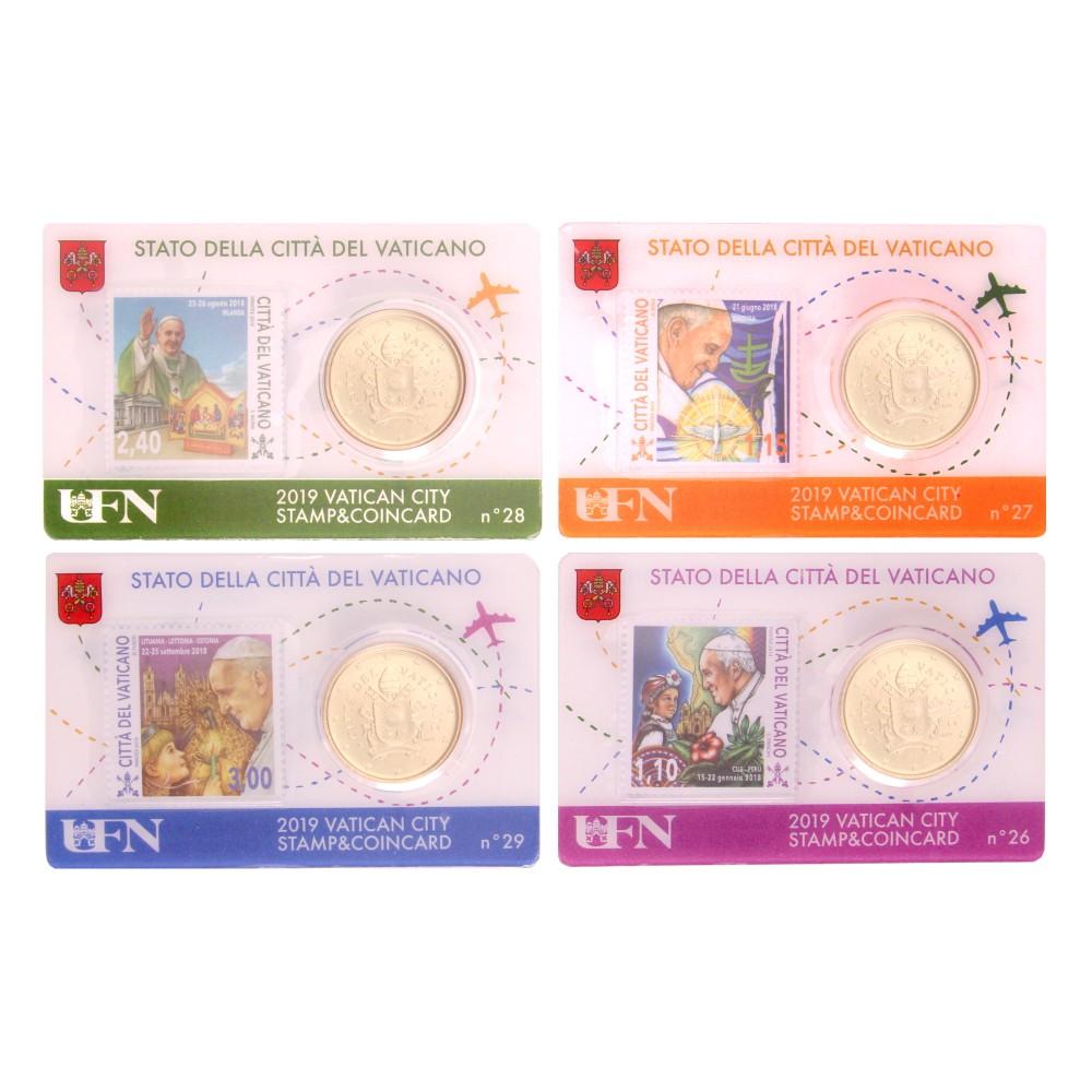 Vaticaan set van 4 coincards 2019 'Postzegel en munt' nr. 26 t/m 29