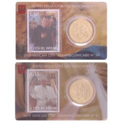 Vaticaan set van 2 coincards 2019 'Postzegel en munt' nr. 30 t/m 31
