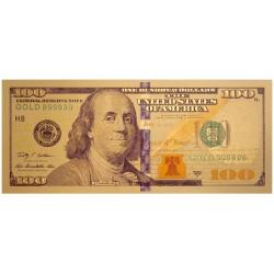 USA biljet 100 Dollar in goud met kleuropdruk 'Benjamin Franklin' - versie 2