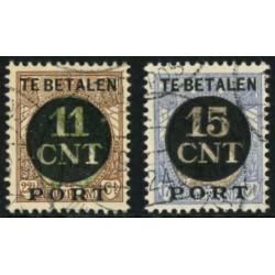 1924 Nederland Postpakket-verrekenzegels | Frankeerzegels der uitgiften 1899-1921, overdrukt in zwart