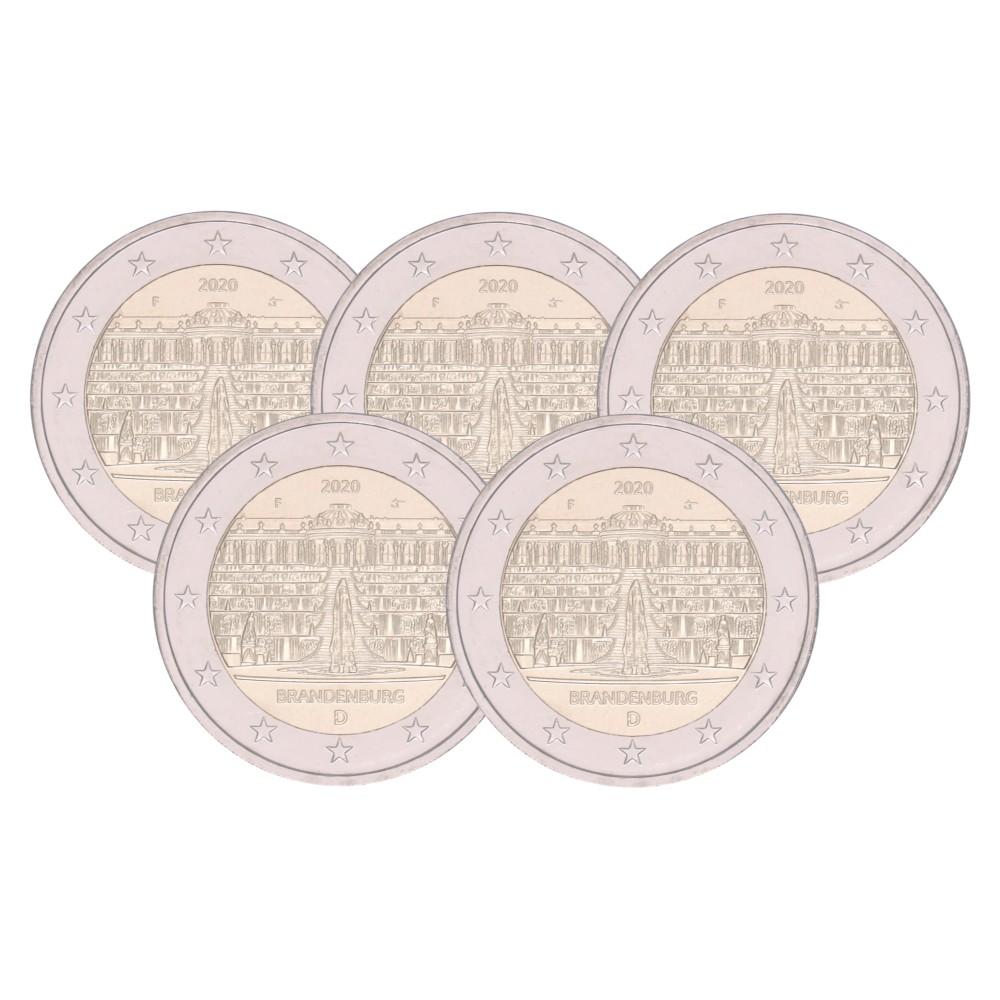 Duitsland 2 euro 2020 'Brandenburg' - 5 letters: A,D,F,G en J