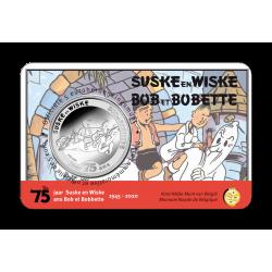 5 euromunt België 2020 75 jaar 'Suske en Wiske' reliëf BU in coincard