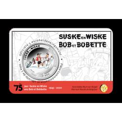 5 euromunt België 2020 75 jaar 'Suske en Wiske' kleur BU in coincard (Leverbaar April)