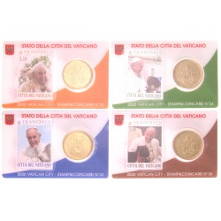 Vaticaan set van 4 coincards 2020 'Postzegel en munt' nr. 32 t/m 35