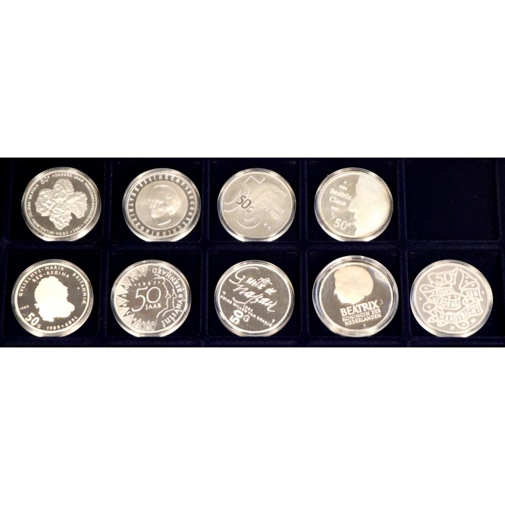 Complete serie 50 Gulden Nederland inclusief gratis muntenkoffer
