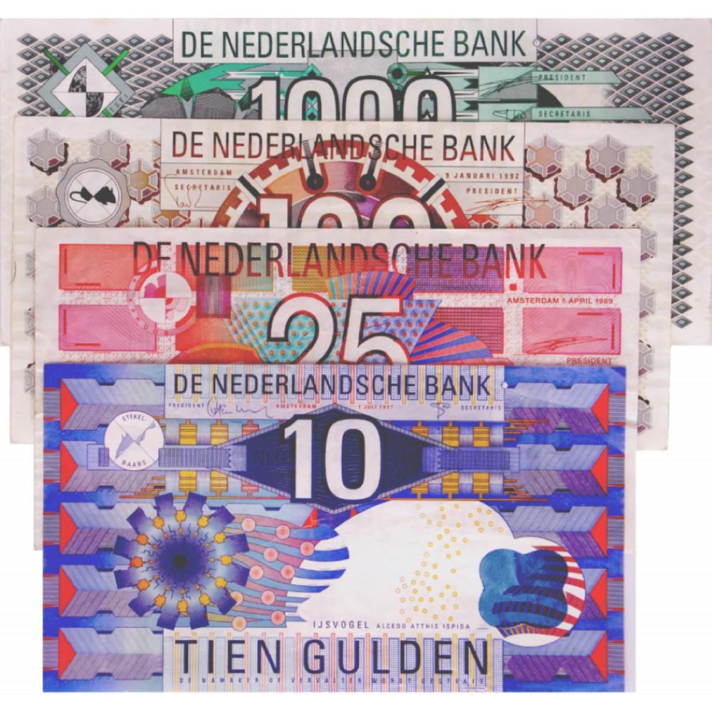 Nederland 10/25/100/1000 1989-1997 'IJsvogel/Roodborstje/Steenuil/Kievit'