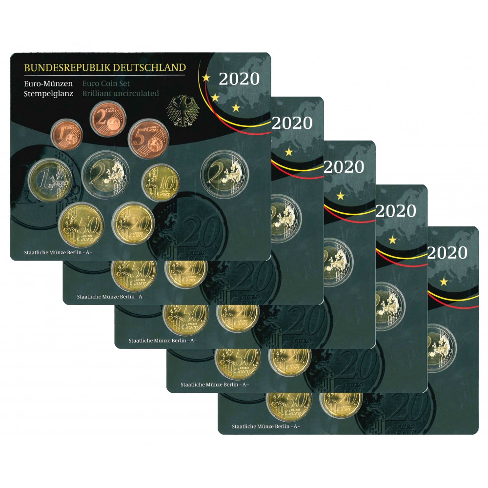 Duitsland 5x BU sets 2020 - Met 2 euro 'Brandenburg', letters A,D,F,G,J