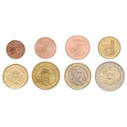 Oostenrijk serie euromunten op jaartal