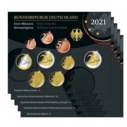 Duitsland 5x BU sets 2021 - Met 2 euro 'Dom van Maagdenburg', letters A,D,F,G,J