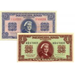 Nederland 1 Gulden & 2½ Gulden 1945 Wilhelmina