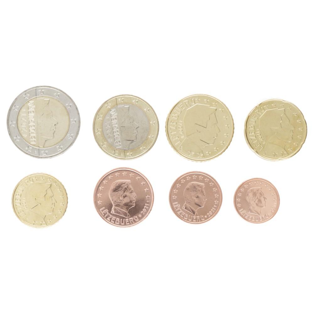 Luxemburg serie euromunten op jaartal