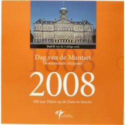 Nederland BU-set Dag van de Munt 2008 'Monumentale Mijlpalen - 200 jaar Paleis op de Dam in functie'