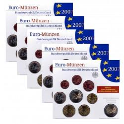 Duitsland 5x BU-Sets 2007 - Met 2 euro 'verdrag van Rome en 2 euro 'Mecklenburg-Vorpommern', letters A,D,F,G en J