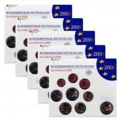 Duitsland 5x BU-Sets 2008 - Met 2 euro 'Hamburg', letters A,D,F,G en J