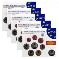 Duitsland 5x BU-Sets 2009 - Met 2 euro 'Saarland', letters A,D,F,G en J