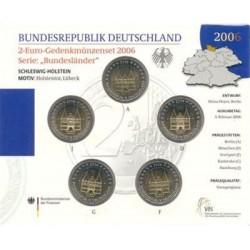 Duitsland BU-Set 2006 5x 2 euro 'Holstentor Lubeck', letters A,D,F,G en J