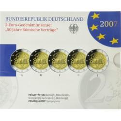 Duitsland Proof-Set 2007 5x 2 euro '50e verjaardag van het Verdrag van Rome', letters A,D,F,G en J
